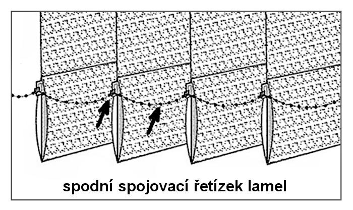 Dolní spojovací řetízek vertikální žaluzie 89mm